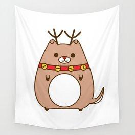 Cute Christmas Reindeer Pupsheen Wall Tapestry