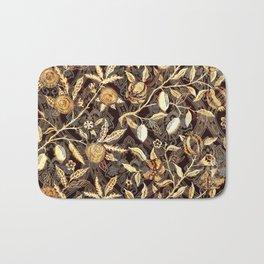 Pomegranate Pattern Gold On Dark Filigree Bath Mat