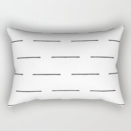 Block Print Lines in Black and White Rectangular Pillow