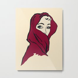 The woman with the red veil Metal Print