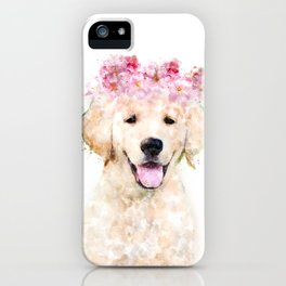 Watercolor Labrador with flowers,  happy puppy, nursery decor, Dog Painting iPhone Case