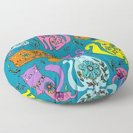 Cat Nap - Colorful floral Cats Floor Pillow
