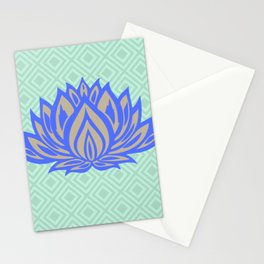 Lotus Meditation Mint Blue Throw Pillow Stationery Cards