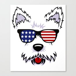 Westie Dog Face with American Flag Sunglasses Canvas Print