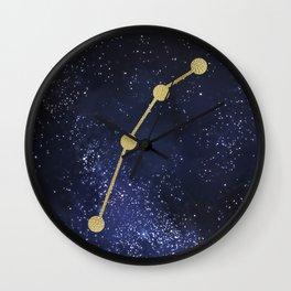 Golden Aries Zodiac Sign Constellation Galaxy Art Wall Clock