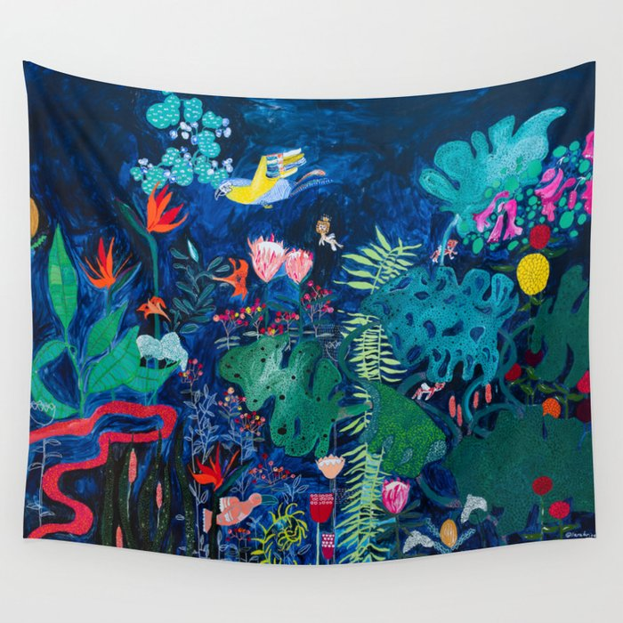 Brightly Rainbow Tropical Jungle Mural with Birds and Tiny Big Cats Wall Tapestry