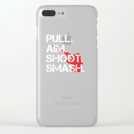 Pull Aim Shoot Smash Skeet Shooting design Gift Clear iPhone Case