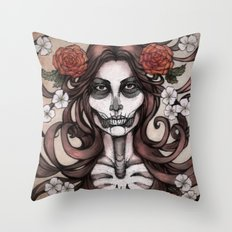 Blossoming Day of the Dead Throw Pillow