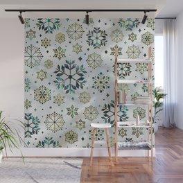 Festive Golden Abalone Shell Snowflake pattern Wall Mural