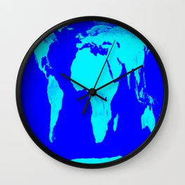 World Map Turquoise Blue Wall Clock