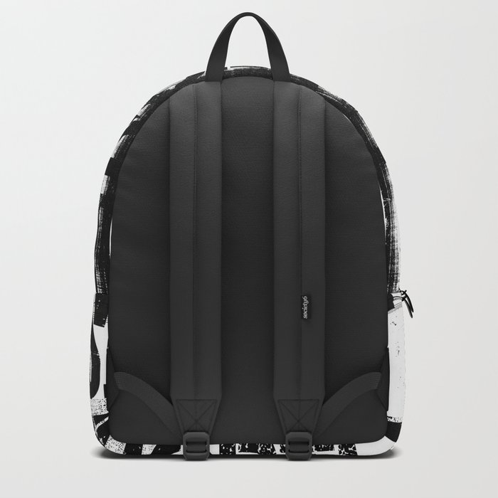East South North West Black White Grunge Typography Backpack