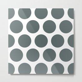 Large Polka Dots: Dark Grey Metal Print