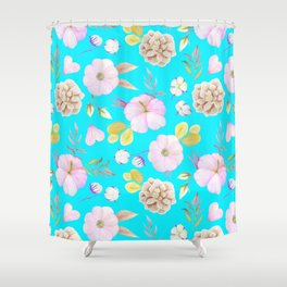 Artist hand painted pink lavender teal watercolor floral Shower Curtain