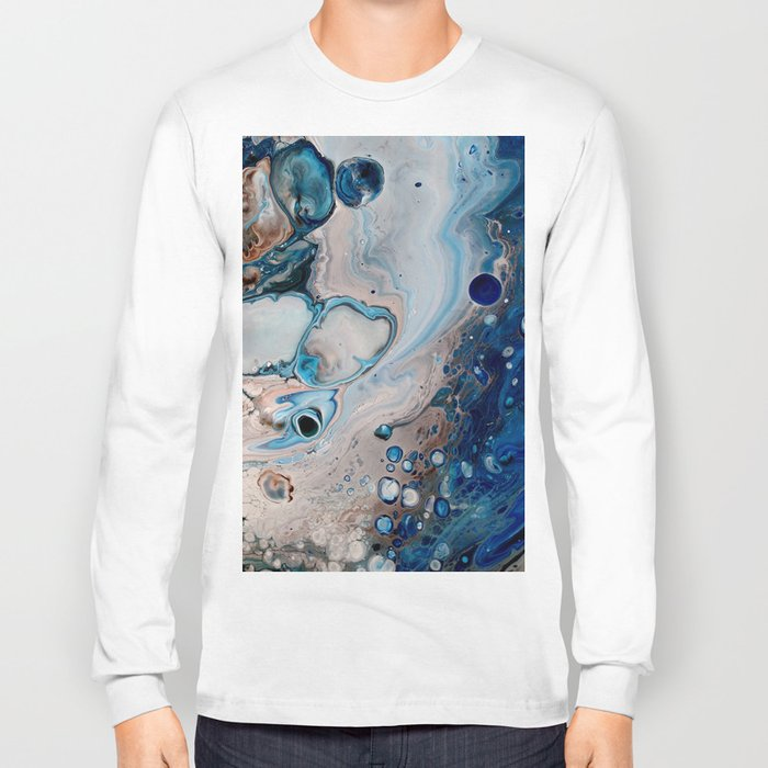 316a8138f38a Breaking Wave Blue Macro Print Long Sleeve T-shirt by ...