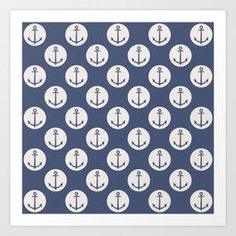 Blue Nautical Ships Anchor Art Print