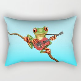 Tree Frog Playing Acoustic Guitar with Flag of Albania Rectangular Pillow