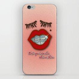 Shiny Braces, Red Lips, Mole, and Thick Eyelashes iPhone Skin