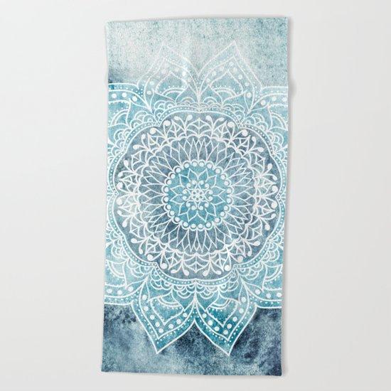 DEEP BLUE MANDALA Beach Towel