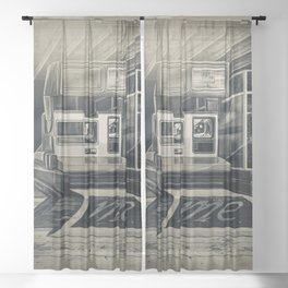 Shoot Me Back in Black and White Sheer Curtain