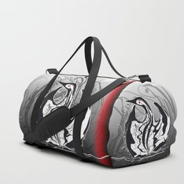 Swan-1. Black on white background-(Red eyes series) Duffle Bag