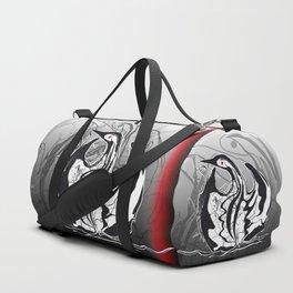 Swan-1. Black on white background-(Red eyes series) Duffle Bag