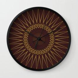 Golden Star Burgundy Wine Mandala Wall Clock