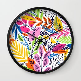 Summer Night's Contemporary Colorful Leaves Art Designs Wall Clock