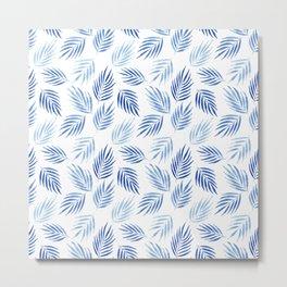 Tropical areca palms pattern in blue Metal Print