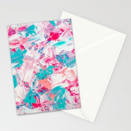 Modern bright candy pink turquoise pastel brushstrokes acrylic paint Stationery Cards