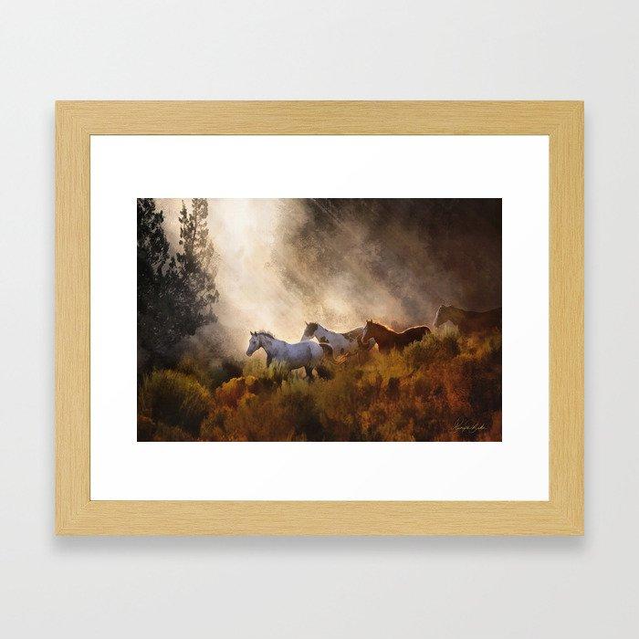 Horses in a Golden Meadow by Georgia M Baker Framed Art Print