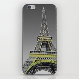 Paris Eiffel tower black and white with color GOLD iPhone Skin