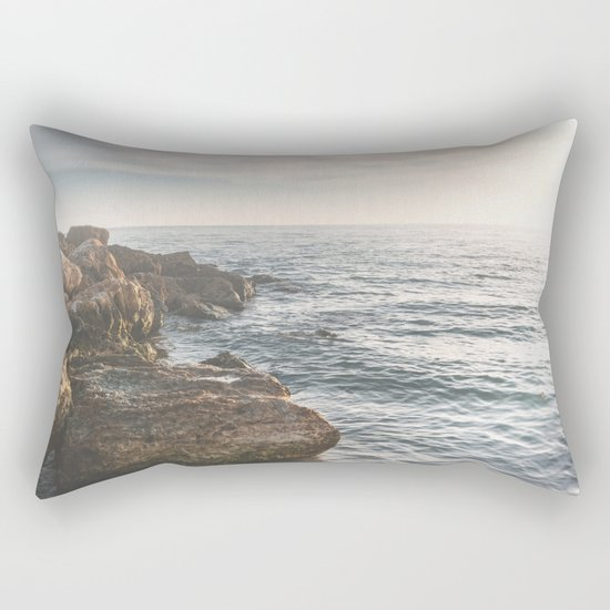 Ocean (Rocks Within the Misty Blue) Rectangular Pillow
