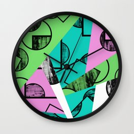 Broken Pieces - Pastel coloured, geometric, textured abstract Wall Clock