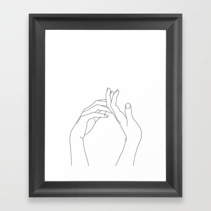 Hands line drawing illustration - Abi Gerahmter Kunstdruck