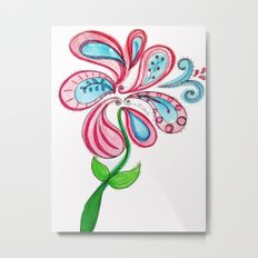 Swirl Flower Metal Print