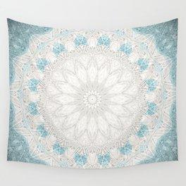 Bohemian Sea Foam Blue Creme Mandala Wall Tapestry
