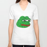 rare V-neck T-shirts featuring Rare Pepe by Mischievie