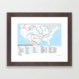 Major Rivers of the United States Framed Art Print