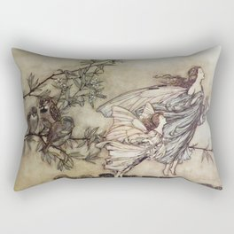 """Fairies Tiff with the Birds"" by Arthur Rackham Rectangular Pillow"