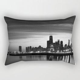 Chicago Skyline Black and White Rectangular Pillow