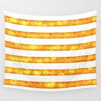 duvet cover Wall Tapestries featuring Golden Glitter Stripes Duvet Cover by Corbin Henry