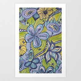 Turquoise, Yellow, and Green Floral Art Print
