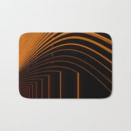 Unique Curved Wood Pattern Geometric Shape In A Vintage Mid-century Modern Style Bath Mat