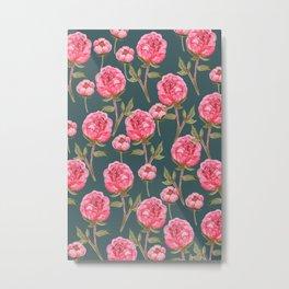Pink Peonies On Green Background Metal Print