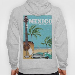Mexico City Acoustic Guitar vintage travel print Hoody