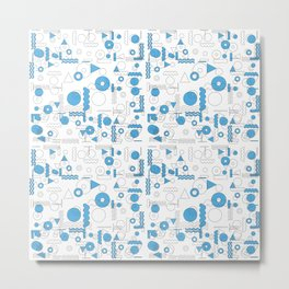 Blue White Geometric Shapes Metal Print