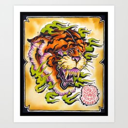 tiger and fire Art Print