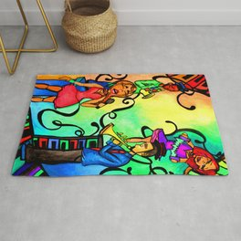 Rainbow African American band Rug