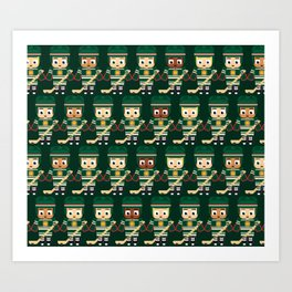 Super cute sports stars - Ice Hockey Green Art Print