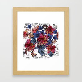 Tropical pattern with hibiscus flowers. Hawaii style watercolor Framed Art Print